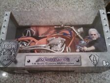 NIB Arlen Ness 1/6 Scale Custom Motorcycle Orange With Blue Flames Iron Legends