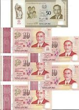 SINGAPORE $50 & 5 PC $10 2015 COMMEMORATIVE SG50 IN ALBUM UNC
