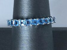 Size 7 Swiss Blue Topaz Sterling Silver Ring Band Style Adorable! 1.14 Carats