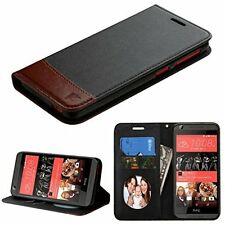 New For HTC Desire 626 / 626S Leather Flip Wallet Case Cover Stand BLACK BROWN