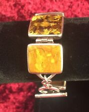Silpada Sterling Silver Pyrite Bronzite Jasper Toggle Bracelet Retired B0999