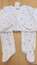White velour sleepsuit with owls by The Little White Company 18-24 months