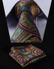 "TF453P8S Purple Green Floral 3.4"" Silk Woven Men Tie Necktie Handkerchief Set"