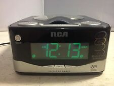 RCA RP4803B CD Clock Radio, Dual Alarm, Green display selection.