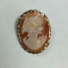 """14K Yellow Gold Carved Shell Cameo Brooch/ Pendant 7/8"""" x 1 3/8"""" 3.9 Grams"""