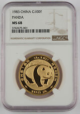 1983 China 100 Yuan 1 Troy Oz 999 Gold Chinese Panda Coin NGC MS68 GEM BU+