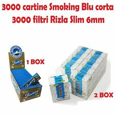 3000 CARTINE SMOKING BLU CORTE + 3000 FILTRI RIZLA SLIM 6mm
