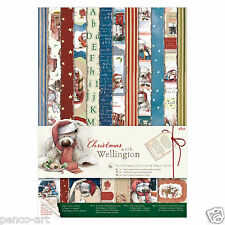 48 sheet Papermania A4 160gsm Wellington the bear Christmas paper