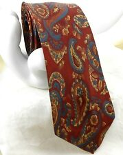 "50s VTG Men's Silk Foulard Tie Paisley Red Gray Gold & Bronze 2.5""x 56"" SKINNY"