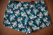 NUOVO SZ 14 Fashion Box Blu Scuro Acido Floreale Pantaloncini Di Jeans cotone