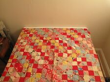 "VTG BLOCK PATTERN BABY CRIB CHILD'S PATCHWORK QUILT RED YELLOW BLUE 46""X36.5"