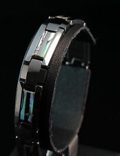 Avantgarde Tungsten Carbide Double Abalone Shell Inlay Men's Bracelet