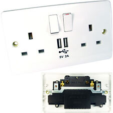 Double UK Main Power Socket & 2x USB Port Wall Face Plate–13/2A Outlet Plug Gang