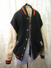 Vintage Lasley Wool Leather Varsity Jacket Mens Black White Orange Sz 46