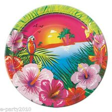 HAWAIIAN LUAU SUNSET SMALL PAPER PLATES (8) ~Birthday Party Supplies Cake Beach