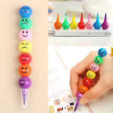 New 7 Colors Cute Stacker Swap Smile Face Crayons Children Drawing Gift (A246)