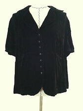 Talbots 24W Petite woman plus blouse black velvet faceted button up silk bl size