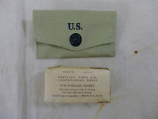 US ARMY WW2 Verbandpäckchen Koppel Tasche First Aid Kit pouch + Field dressing