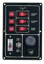 #Marine Boat Aluminum Switch Panel 3 Gang w/ Battery Tester & Horn Push Button