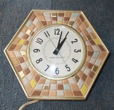 VTG GE Mid Century Mosaic Tile Kitchen Wall Clock Retro Art Deco Turquoise Aqua