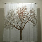 New Brown Tree White Fabric Bathroom Shower Curtain Liner w/ Hooks Polyester