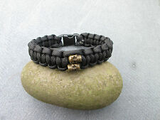 BLACK PARACORD BRACELET WITH 2 SKULLS, VARIOUS COLOURS AVAILABLE