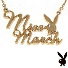 Playboy Necklace MISS MARCH Bunny Logo Pendant Gold Plated Playmate of the Month