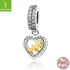 Solid Lovely Heart Dangle Pendant Mom Charm With 14k Gold MOM 925 Silver Jewelry