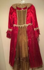 Disney Belle Deluxe Beauty And The Beast Red Dress Christmas Costume SZ L 10-12