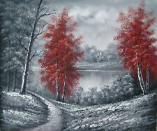 FRAMED HAND PAINTED OIL PAINTING RED TREES BLACK & WHITE SCRUB BY LAKE LANDSCAPE