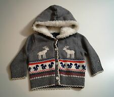 TOMMY HILFIGER Grey Cotton Wool & Faux Fur Pattern Hoodie Cardigan Top 0-3 Month