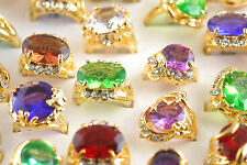 wholesale Lots 5ps Assorted Colors Rhinestone Zircon Gold Plated Cocktail Rings