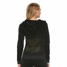 JUICY COUTURE Black Velour Gold Embellished Hoodie L NWT NEW FREE SHIP