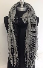 NEW Women's Knitted Crochet Circle Infinity tube Scarf Black/Gray Tone Wrap Soft