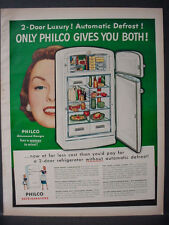 1951 Philco Automatic Defrost Refrigerator Appliance Vintage Print Ad 12328