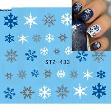 Nail Art Water Decals Stickers Christmas Blue White Snowflakes Gel Polish 433BW