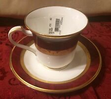 Noritake Bone China Footed Cup/saucer Marbled Border, Gold Trim Hemingway 4773