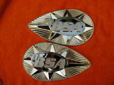 Pair BSA B25 A65 1968-70 gold METAL pear shape PETROL fuel TANK BADGES 82-9695