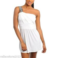 RX1 Sexy White One shoulder Little Mini Sheer Rave Cocktail Club Dress S M L New