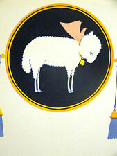 Elizabeth Cadie 1925 SWEET LITTLE WHIITE LAMB w PINK BOW Vintage Print Matted