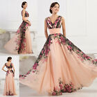New LONG Evening Gown Floral Party Prom Dress Vintage Sexy Wedding Bridesmaid