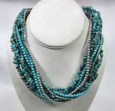Vintage Turquoise Sterling Silver Beaded Cluster Necklace Native American Navajo