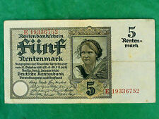 Authentic Germany 5 Rentenmark Banknote. 2 January 1926. Fine condition
