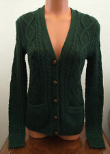 Ralph Lauren Womens Size Small Green Cable Knit Cardigan Sweater Elbow Patches