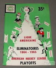 1964-65 AHL Quebec Aces Playoff Program Calder Cover