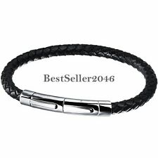 """Black Men's Braided Leather Stainless Steel Cuff Bangle Bracelet Wristband 8.1"""""""