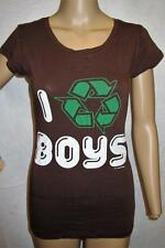 CROOKED MONKEY $26 Brown I LOVE BOYS Graphic Stretch Top T-Shirt Blouse SZ L NWT