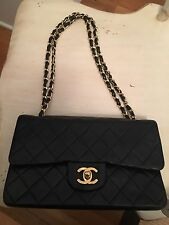 "Authentic CHANEL Black Quilted Lambskin Small 9"" Double Flap Bag  - EUC"