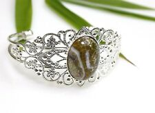 Fire Agate Stone Bracelet Filigree Silver Plated Bangle Brown Cabochon Victorian