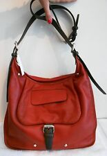 LONGCHAMP Balzane Burgundy Red Hobo Leather Handbag Purse Saddle Zipper  NEW